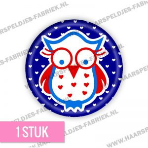 Uiltje hollands rood blauw flatback button
