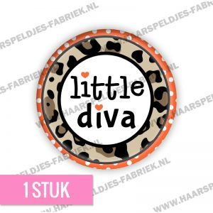 Panter bruin cirkel little diva flatback button