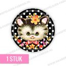 Zwarte stip kitten flatback button